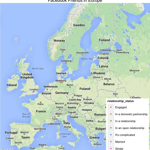 Facebook Friends in Europe
